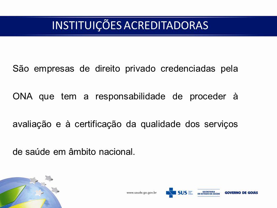 INSTITUIÇÕES ACREDITADORAS São empresas de direito privado credenciadas pela ONA que tem a responsabilidade de proceder à avaliação e à certificação d