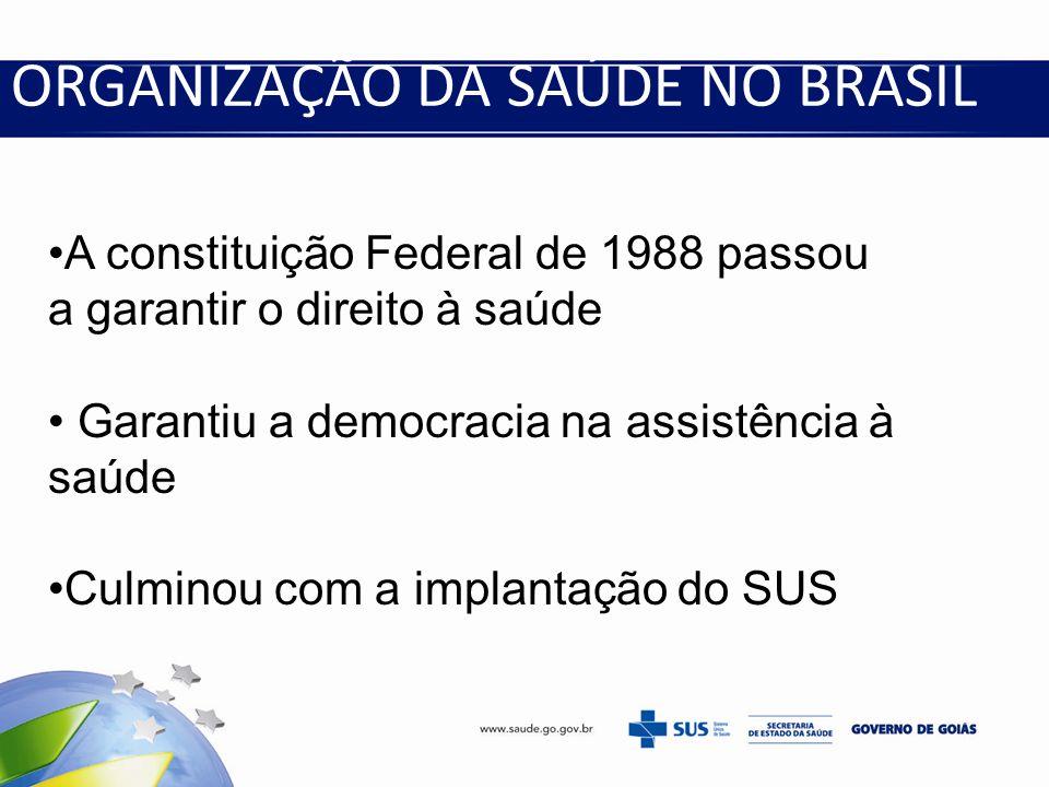 ORGANIZAÇÃO DA SAÚDE NO BRASIL A constituição Federal de 1988 passou a garantir o direito à saúde Garantiu a democracia na assistência à saúde Culmino