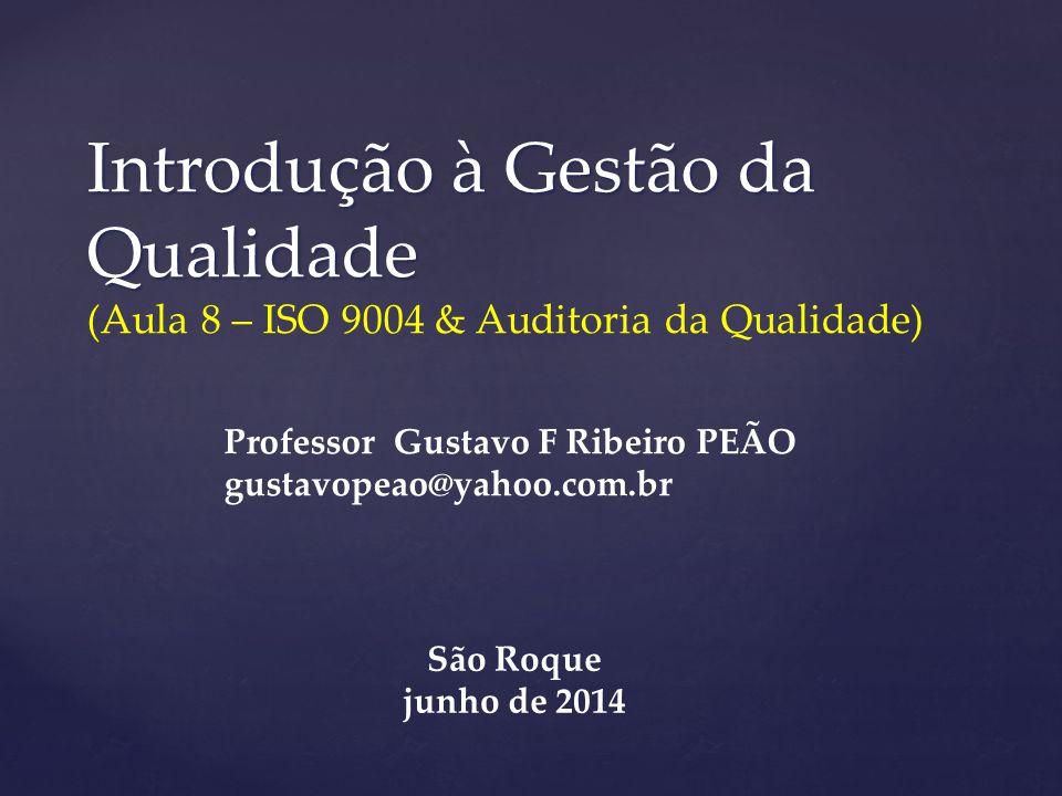 Introdução à Gestão da Qualidade Introdução à Gestão da Qualidade (Aula 8 – ISO 9004 & Auditoria da Qualidade) Professor Gustavo F Ribeiro PEÃO gustav