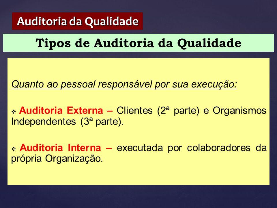 Tipos de Auditoria da Qualidade Auditoria da Qualidade Quanto ao pessoal responsável por sua execução:  Auditoria Externa – Clientes (2ª parte) e Org