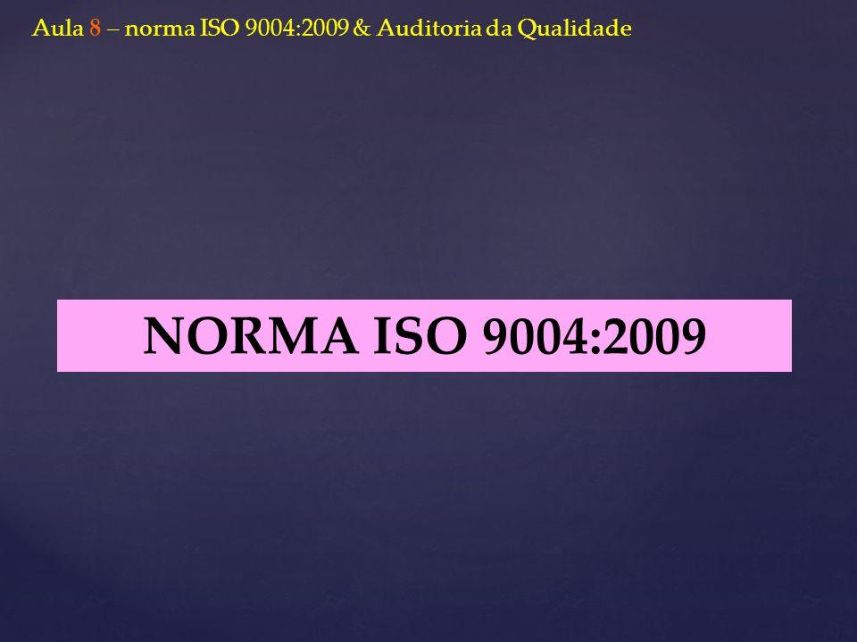 NORMA ISO 9004:2009 Aula 8 – norma ISO 9004:2009 & Auditoria da Qualidade
