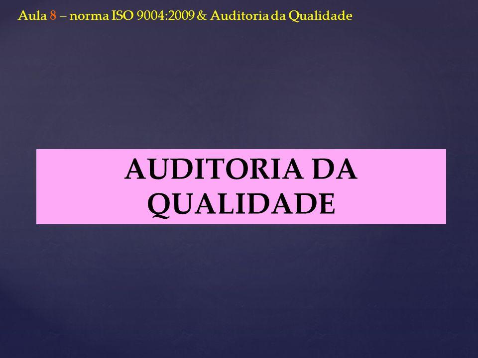 AUDITORIA DA QUALIDADE Aula 8 – norma ISO 9004:2009 & Auditoria da Qualidade