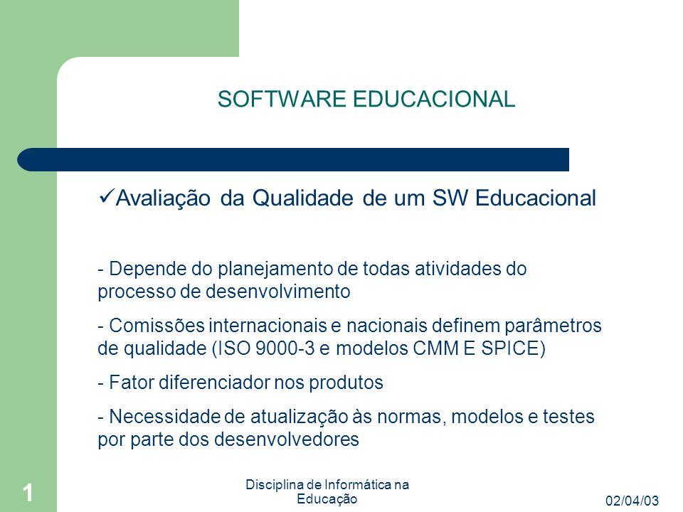 02/04/03 Disciplina de Informática na Educação 1 SOFTWARE EDUCACIONAL Avaliação da Qualidade de um SW Educacional - Norma ISO 9126 define características de qualidade de SW: - Funcionalidade - Confiabilidade - Usabilidade - Eficiência - Manutenibilidade - Portabilidade