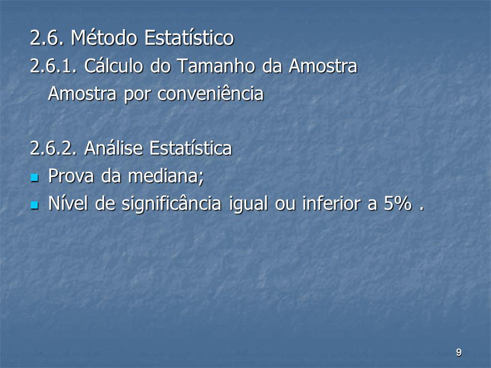 9 2.6. Método Estatístico 2.6.1. Cálculo do Tamanho da Amostra Amostra por conveniência 2.6.2.