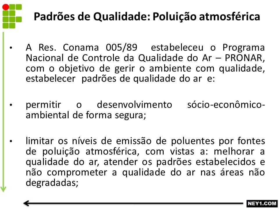 A Res. Conama 005/89 estabeleceu o Programa Nacional de Controle da Qualidade do Ar – PRONAR, com o objetivo de gerir o ambiente com qualidade, estabe