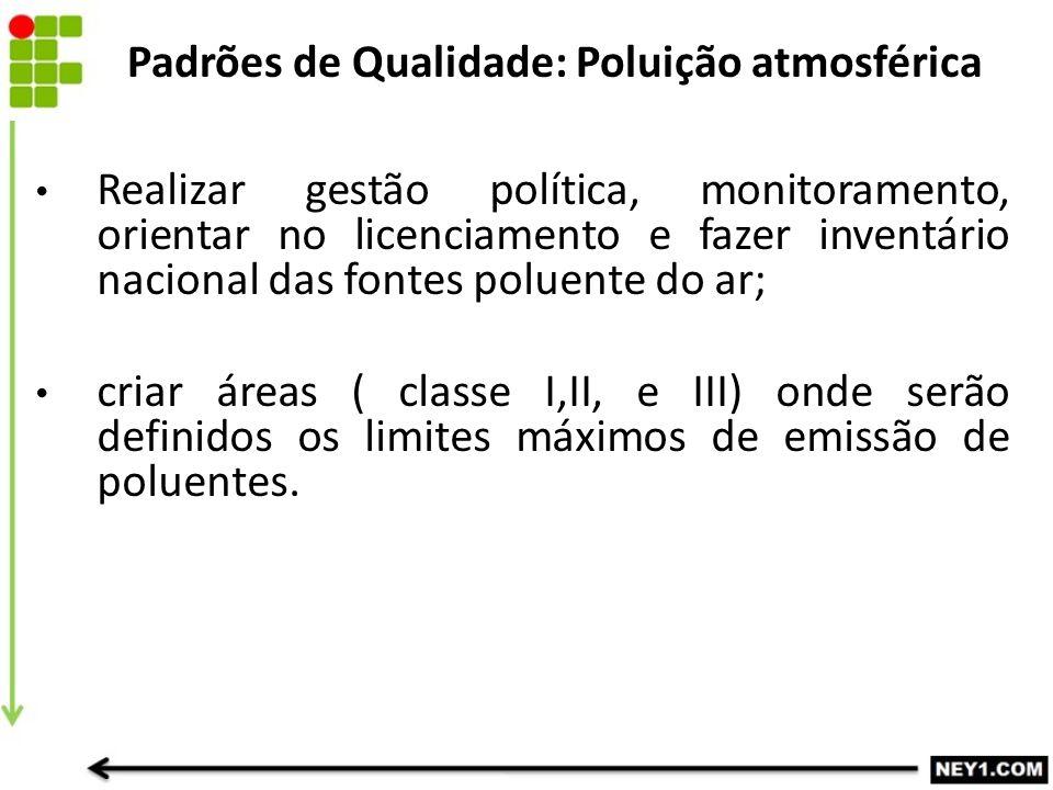 Realizar gestão política, monitoramento, orientar no licenciamento e fazer inventário nacional das fontes poluente do ar; criar áreas ( classe I,II, e