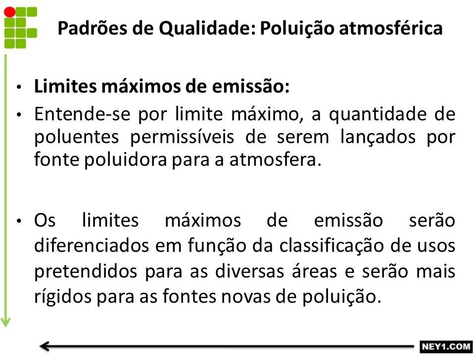 Limites máximos de emissão: Entende-se por limite máximo, a quantidade de poluentes permissíveis de serem lançados por fonte poluidora para a atmosfer
