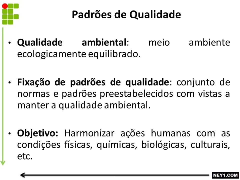 Padrões de Qualidade Qualidade ambiental: meio ambiente ecologicamente equilibrado. Fixação de padrões de qualidade: conjunto de normas e padrões pree
