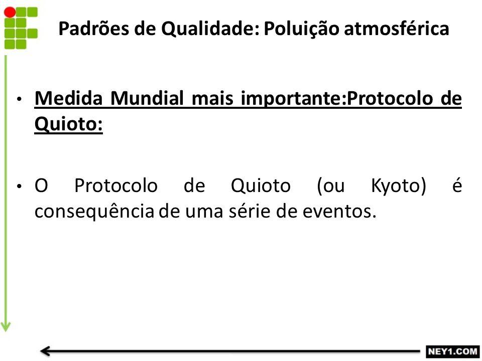 Medida Mundial mais importante:Protocolo de Quioto: O Protocolo de Quioto (ou Kyoto) é consequência de uma série de eventos. Padrões de Qualidade: Pol