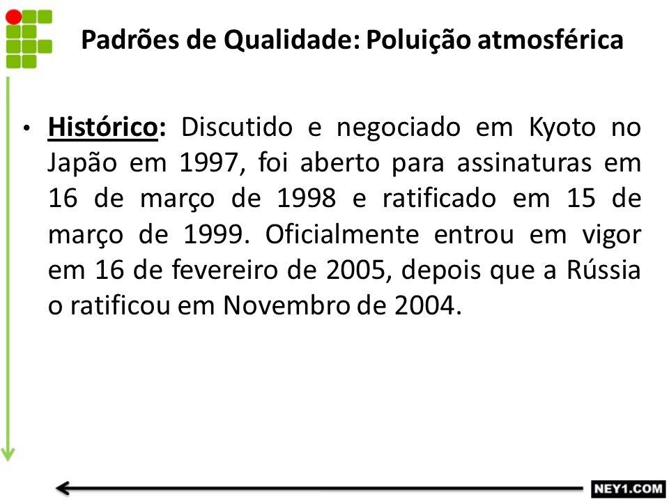 Histórico: Discutido e negociado em Kyoto no Japão em 1997, foi aberto para assinaturas em 16 de março de 1998 e ratificado em 15 de março de 1999. Of
