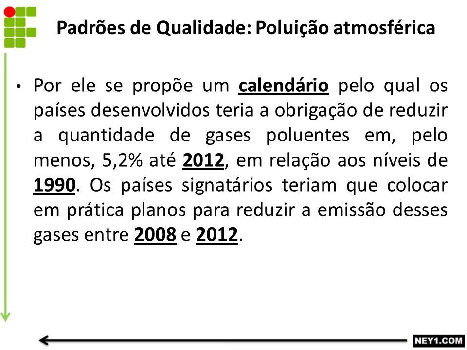 Por ele se propõe um calendário pelo qual os países desenvolvidos teria a obrigação de reduzir a quantidade de gases poluentes em, pelo menos, 5,2% at
