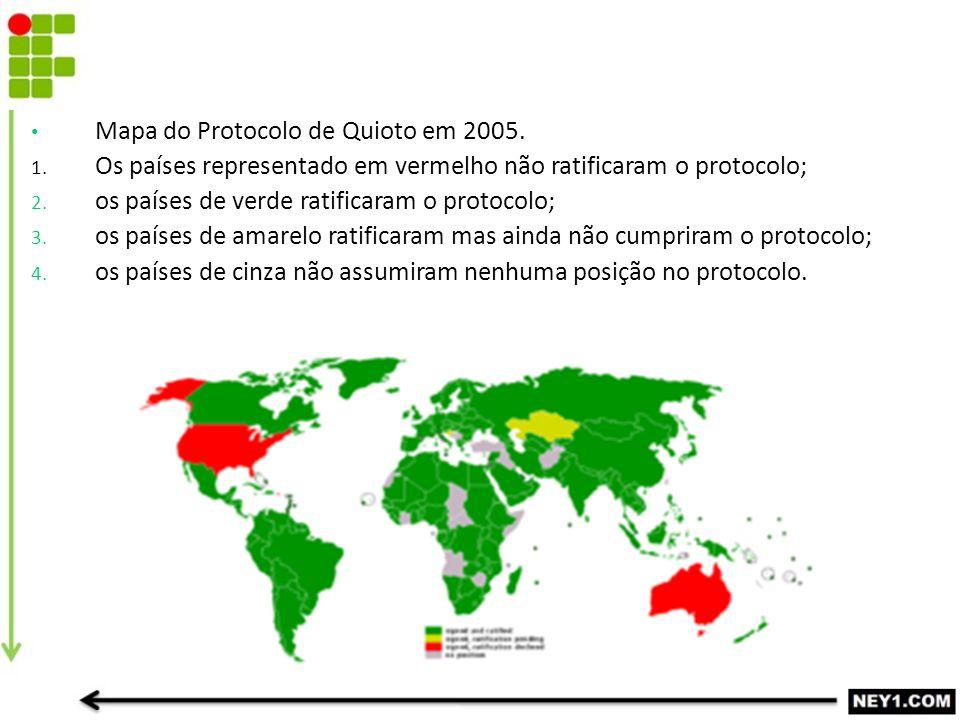 Mapa do Protocolo de Quioto em 2005. 1. Os países representado em vermelho não ratificaram o protocolo; 2. os países de verde ratificaram o protocolo;