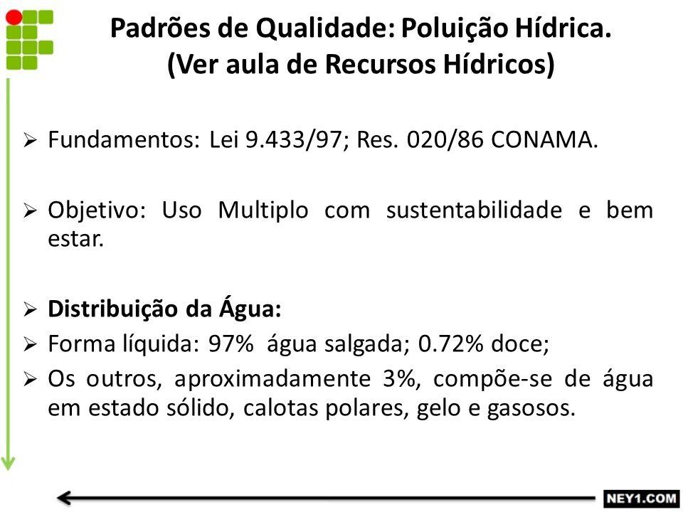  Fundamentos: Lei 9.433/97; Res. 020/86 CONAMA.  Objetivo: Uso Multiplo com sustentabilidade e bem estar.  Distribuição da Água:  Forma líquida: 9