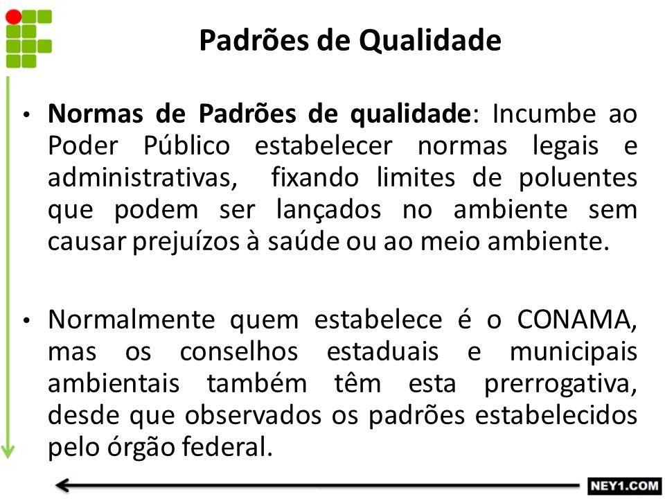 Normas de Padrões de qualidade: Incumbe ao Poder Público estabelecer normas legais e administrativas, fixando limites de poluentes que podem ser lança