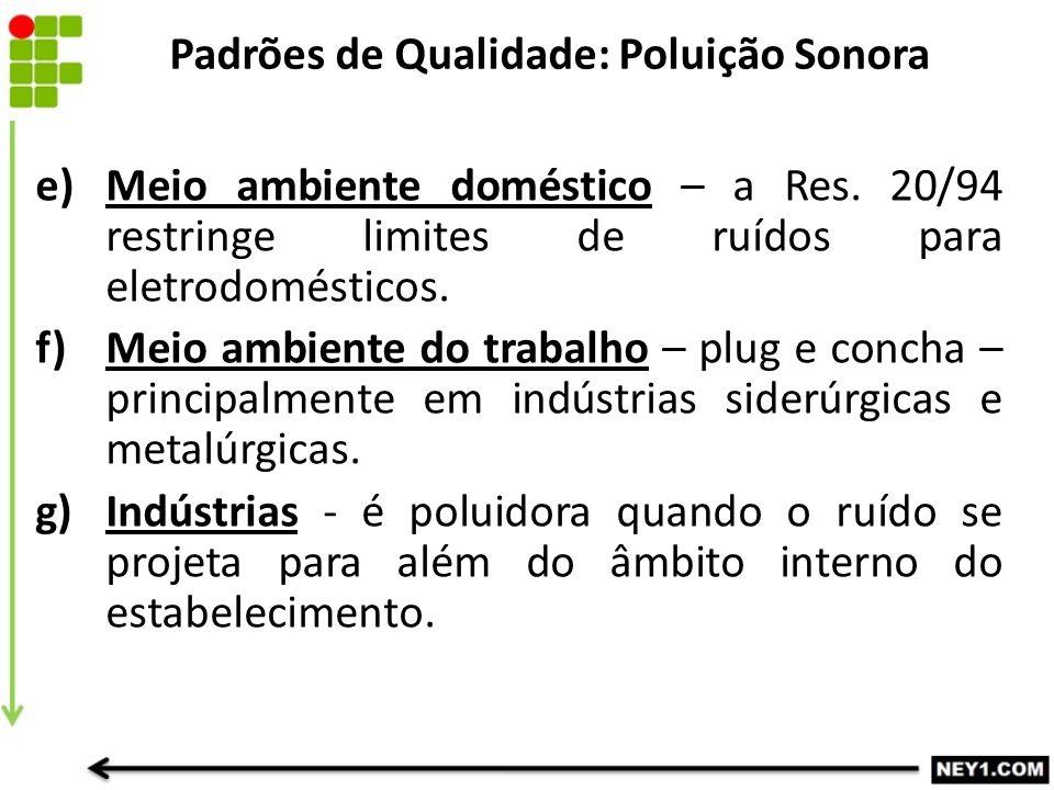 e) Meio ambiente doméstico – a Res. 20/94 restringe limites de ruídos para eletrodomésticos. f)Meio ambiente do trabalho – plug e concha – principalme