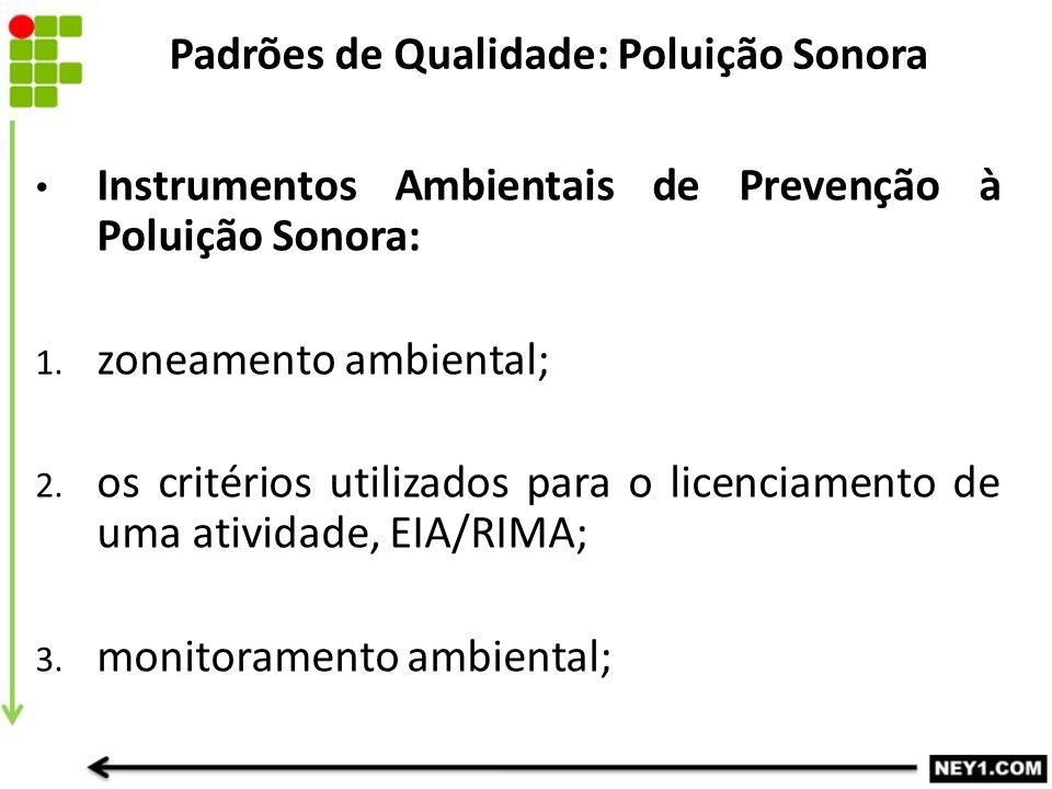 Instrumentos Ambientais de Prevenção à Poluição Sonora: 1. zoneamento ambiental; 2. os critérios utilizados para o licenciamento de uma atividade, EIA