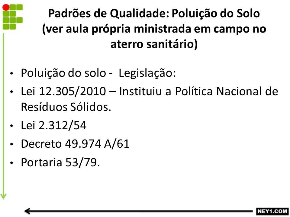 Padrões de Qualidade: Poluição do Solo (ver aula própria ministrada em campo no aterro sanitário) Poluição do solo - Legislação: Lei 12.305/2010 – Ins