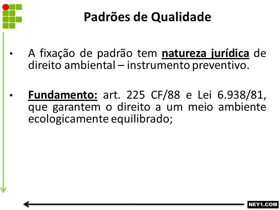 A fixação de padrão tem natureza jurídica de direito ambiental – instrumento preventivo. Fundamento: art. 225 CF/88 e Lei 6.938/81, que garantem o dir