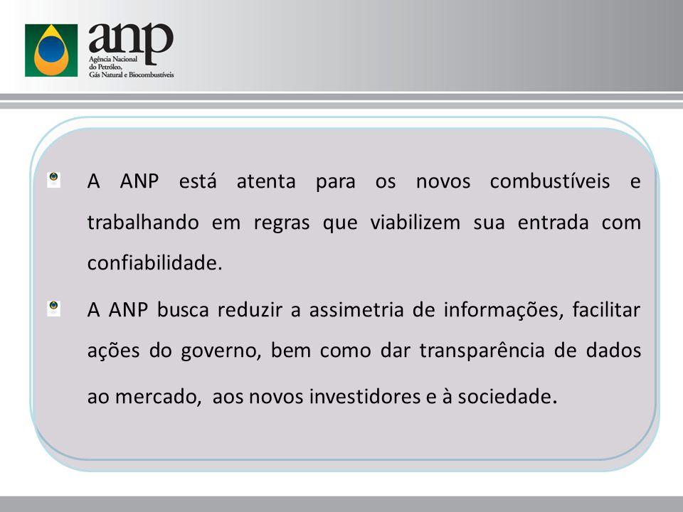 A ANP está atenta para os novos combustíveis e trabalhando em regras que viabilizem sua entrada com confiabilidade. A ANP busca reduzir a assimetria d