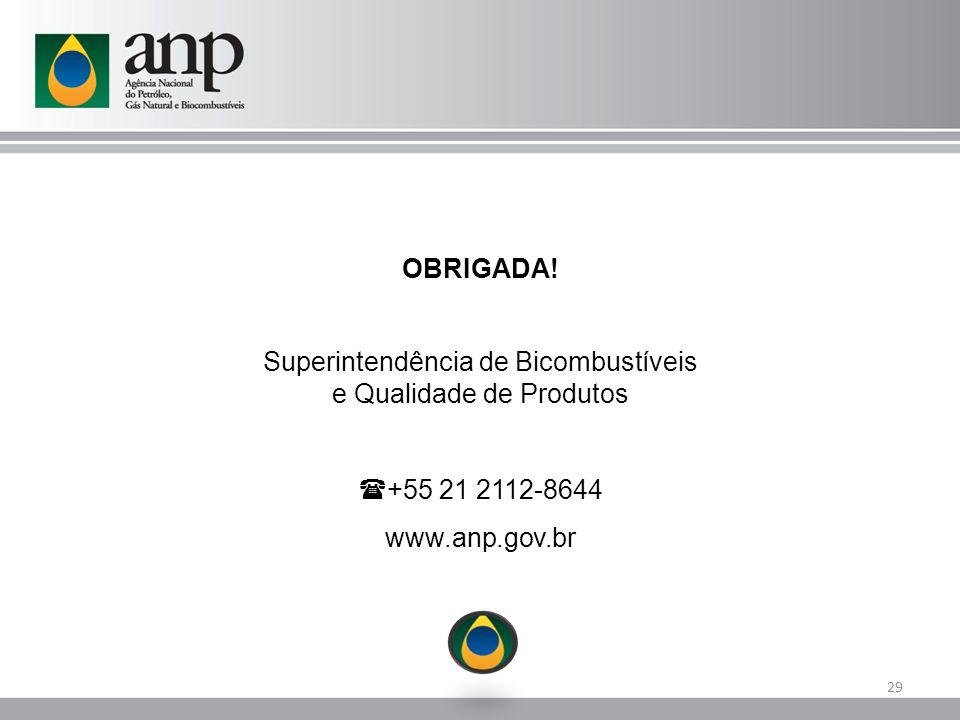 29 OBRIGADA! Superintendência de Bicombustíveis e Qualidade de Produtos  +55 21 2112-8644 www.anp.gov.br