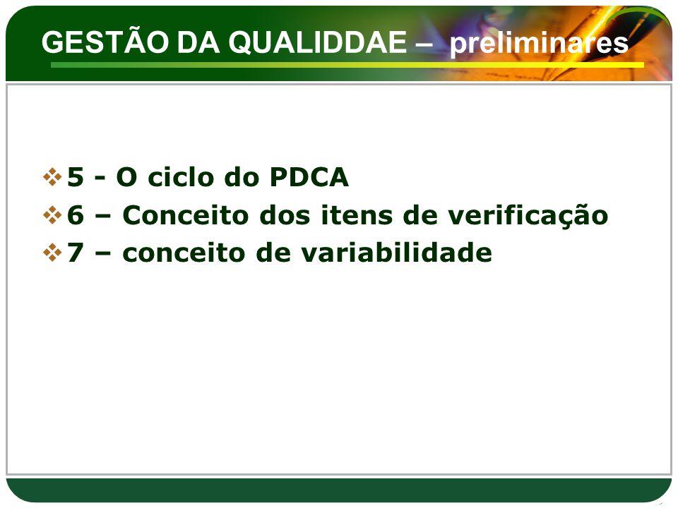 GESTÃO DA QUALIDDAE – preliminares  5 - O ciclo do PDCA  6 – Conceito dos itens de verificação  7 – conceito de variabilidade