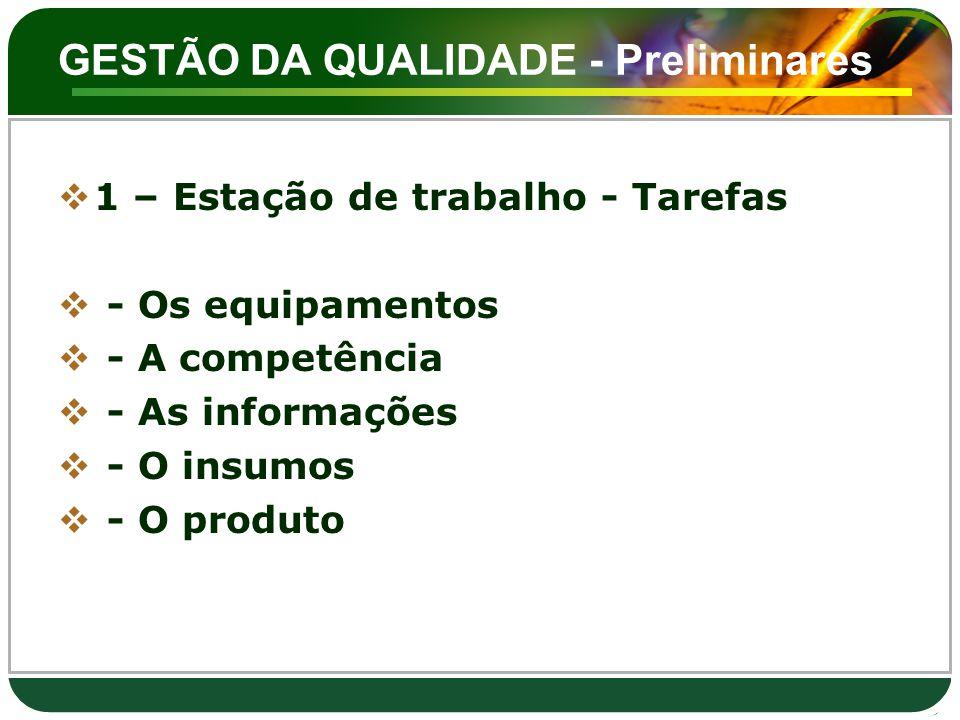GESTÃO DA QUALIDADE - Preliminares  1 – Estação de trabalho - Tarefas  - Os equipamentos  - A competência  - As informações  - O insumos  - O pr
