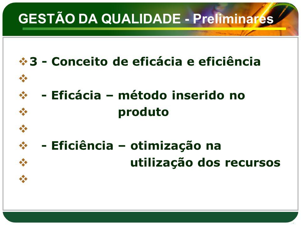 GESTÃO DA QUALIDADE - Preliminares  3 - Conceito de eficácia e eficiência   - Eficácia – método inserido no  produto   - Eficiência – otimização