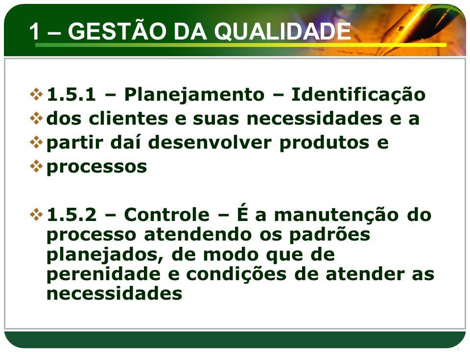 1 – GESTÃO DA QUALIDADE  1.5.1 – Planejamento – Identificação  dos clientes e suas necessidades e a  partir daí desenvolver produtos e  processos
