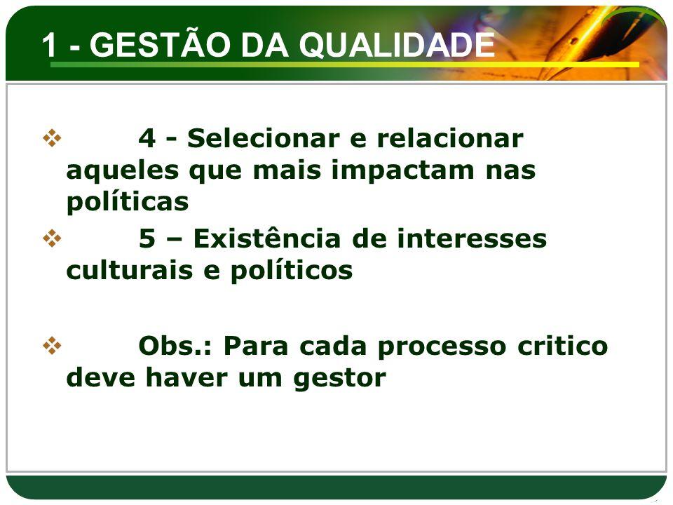1 - GESTÃO DA QUALIDADE  4 - Selecionar e relacionar aqueles que mais impactam nas políticas  5 – Existência de interesses culturais e políticos  O