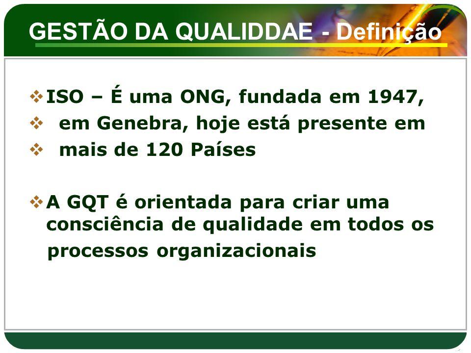 GESTÃO DA QUALIDDAE - Definição  ISO – É uma ONG, fundada em 1947,  em Genebra, hoje está presente em  mais de 120 Países  A GQT é orientada para