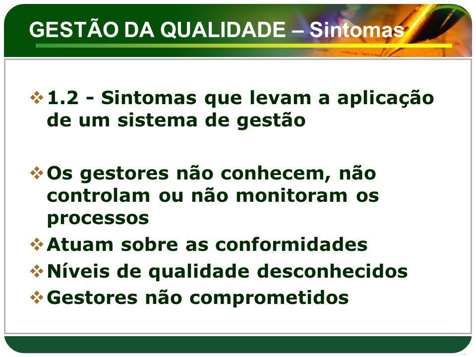 GESTÃO DA QUALIDADE – Sintomas  1.2 - Sintomas que levam a aplicação de um sistema de gestão  Os gestores não conhecem, não controlam ou não monitor