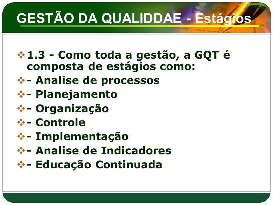 GESTÃO DA QUALIDDAE - Estágios  1.3 - Como toda a gestão, a GQT é composta de estágios como:  - Analise de processos  - Planejamento  - Organizaçã