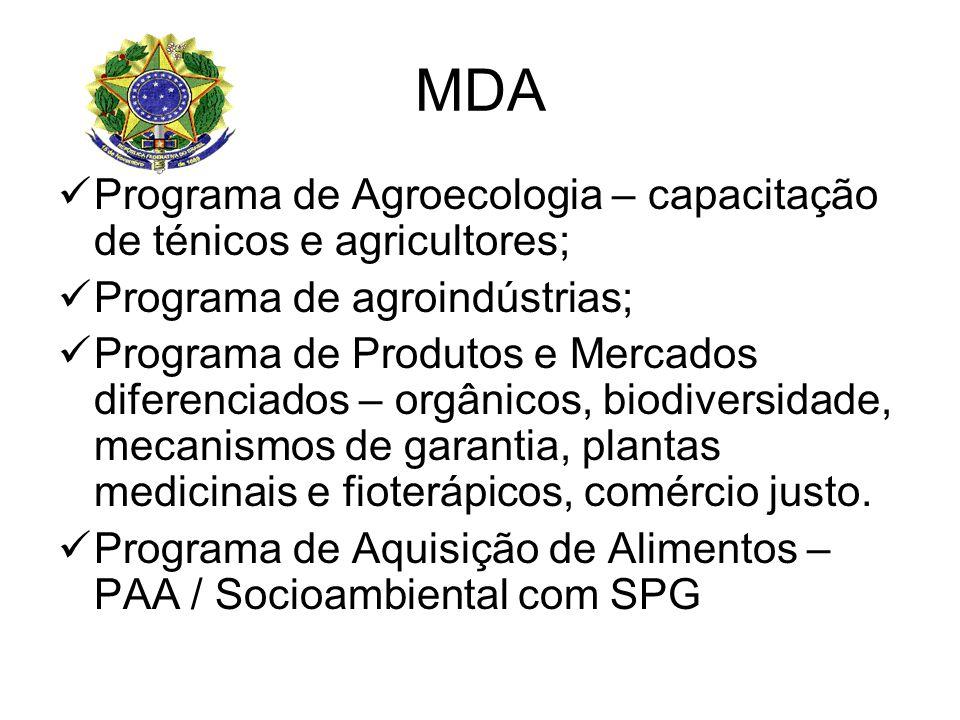 MDA Programa de Agroecologia – capacitação de ténicos e agricultores; Programa de agroindústrias; Programa de Produtos e Mercados diferenciados – orgânicos, biodiversidade, mecanismos de garantia, plantas medicinais e fioterápicos, comércio justo.
