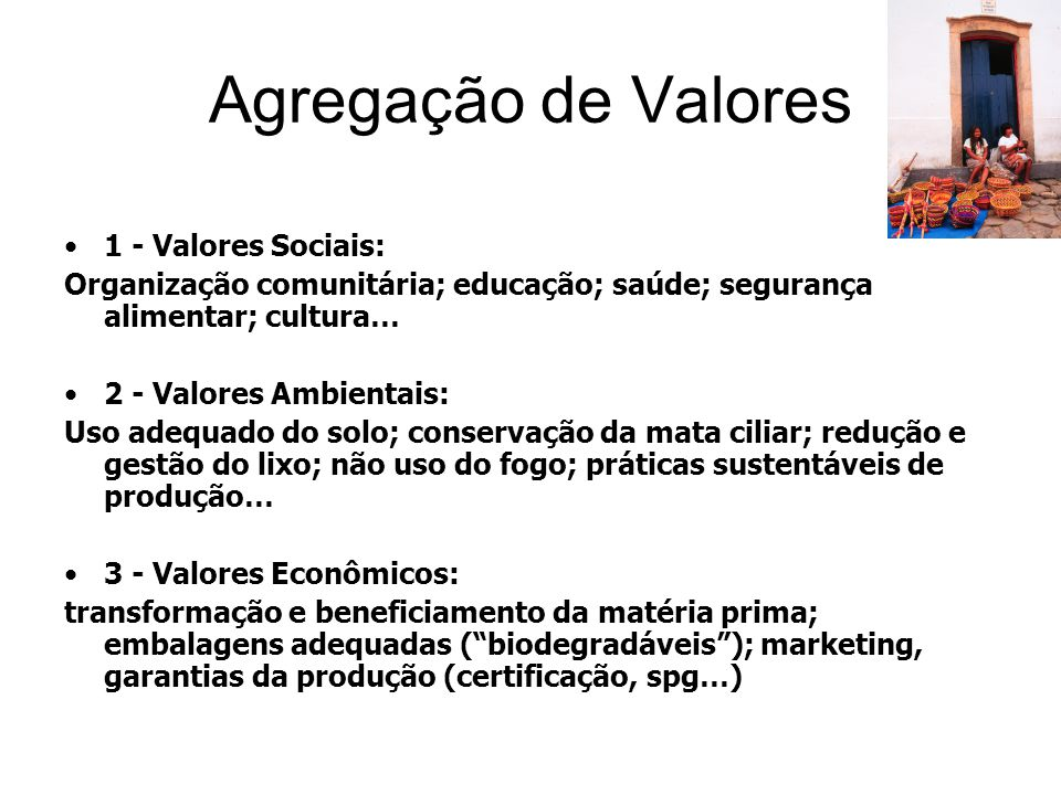 Agregação de Valores 1 - Valores Sociais: Organização comunitária; educação; saúde; segurança alimentar; cultura… 2 - Valores Ambientais: Uso adequado do solo; conservação da mata ciliar; redução e gestão do lixo; não uso do fogo; práticas sustentáveis de produção… 3 - Valores Econômicos: transformação e beneficiamento da matéria prima; embalagens adequadas ( biodegradáveis ); marketing, garantias da produção (certificação, spg…)