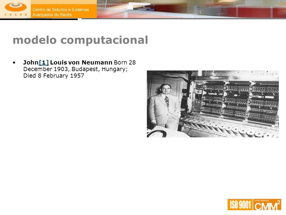 modelo computacional John[1] Louis von Neumann Born 28 December 1903, Budapest, Hungary; Died 8 February 1957[1]