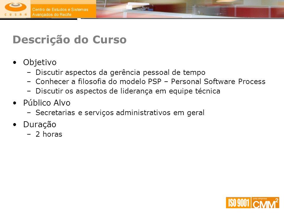 Descrição do Curso Objetivo –Discutir aspectos da gerência pessoal de tempo –Conhecer a filosofia do modelo PSP – Personal Software Process –Discutir