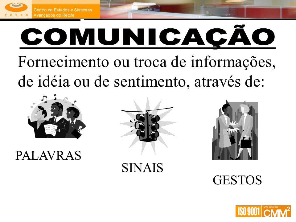 Fornecimento ou troca de informações, de idéia ou de sentimento, através de: PALAVRAS SINAIS GESTOS