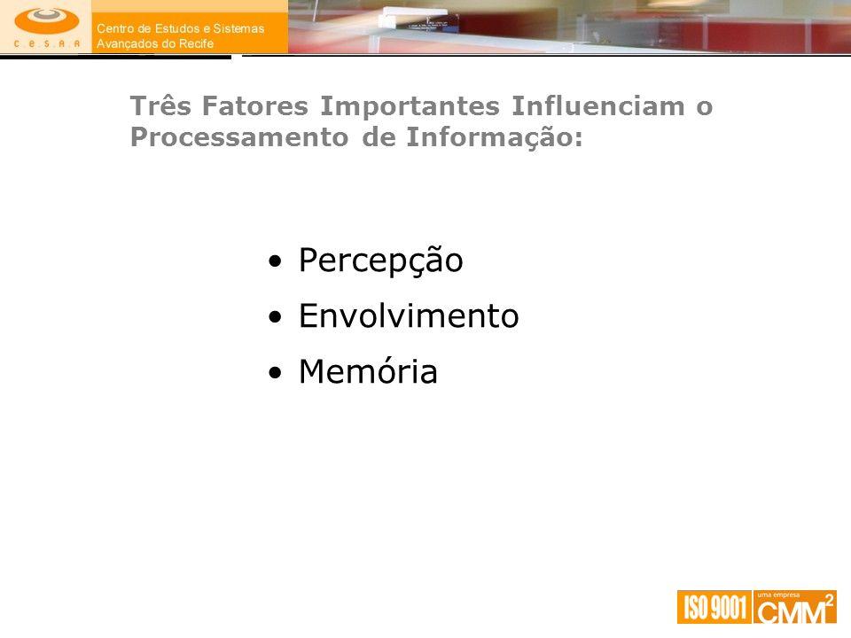 Três Fatores Importantes Influenciam o Processamento de Informação: Percepção Envolvimento Memória