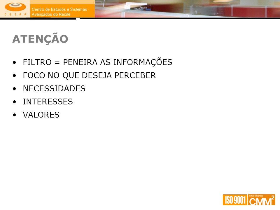 FILTRO = PENEIRA AS INFORMAÇÕES FOCO NO QUE DESEJA PERCEBER NECESSIDADES INTERESSES VALORES