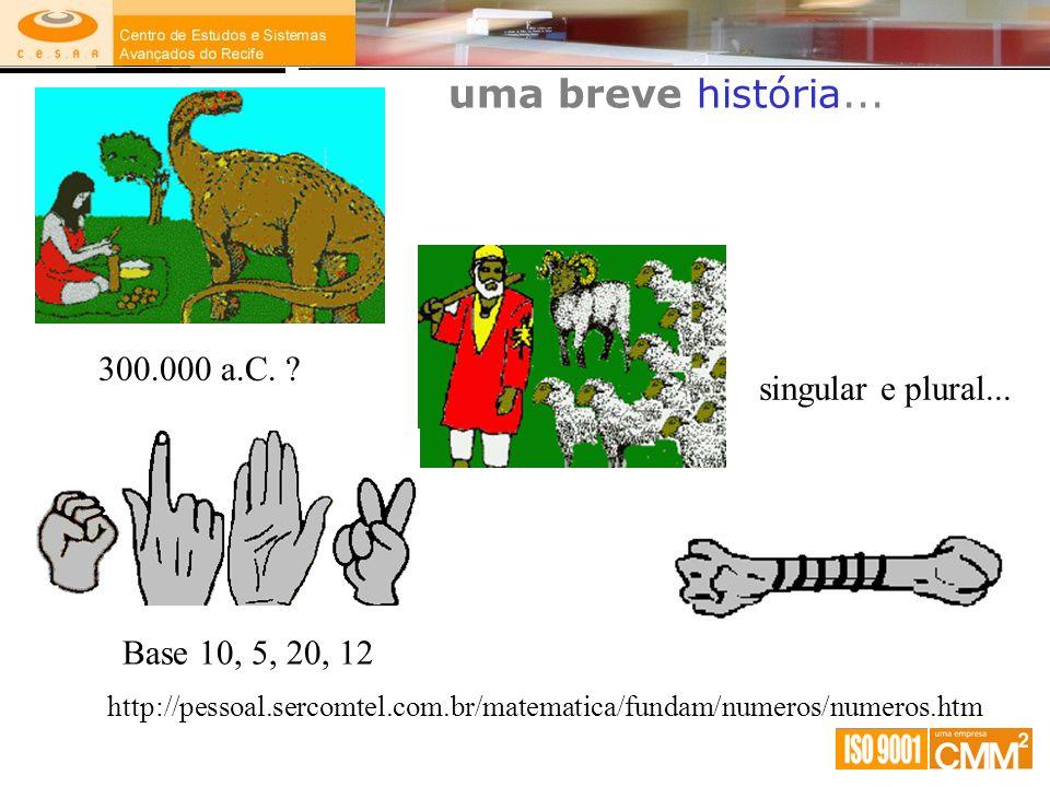 uma breve história... http://pessoal.sercomtel.com.br/matematica/fundam/numeros/numeros.htm 300.000 a.C. ? singular e plural... Base 10, 5, 20, 12
