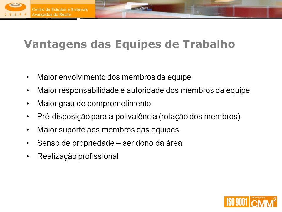 Vantagens das Equipes de Trabalho Maior envolvimento dos membros da equipe Maior responsabilidade e autoridade dos membros da equipe Maior grau de com