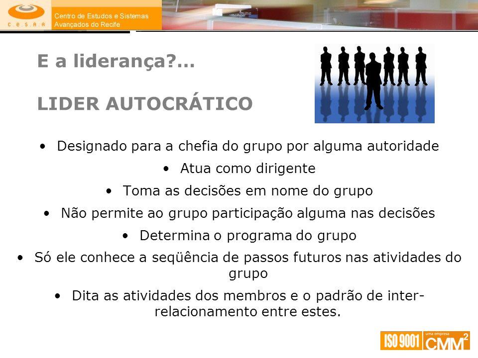 E a liderança?… LIDER AUTOCRÁTICO Designado para a chefia do grupo por alguma autoridade Atua como dirigente Toma as decisões em nome do grupo Não per