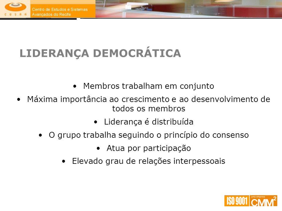 LIDERANÇA DEMOCRÁTICA Membros trabalham em conjunto Máxima importância ao crescimento e ao desenvolvimento de todos os membros Liderança é distribuída