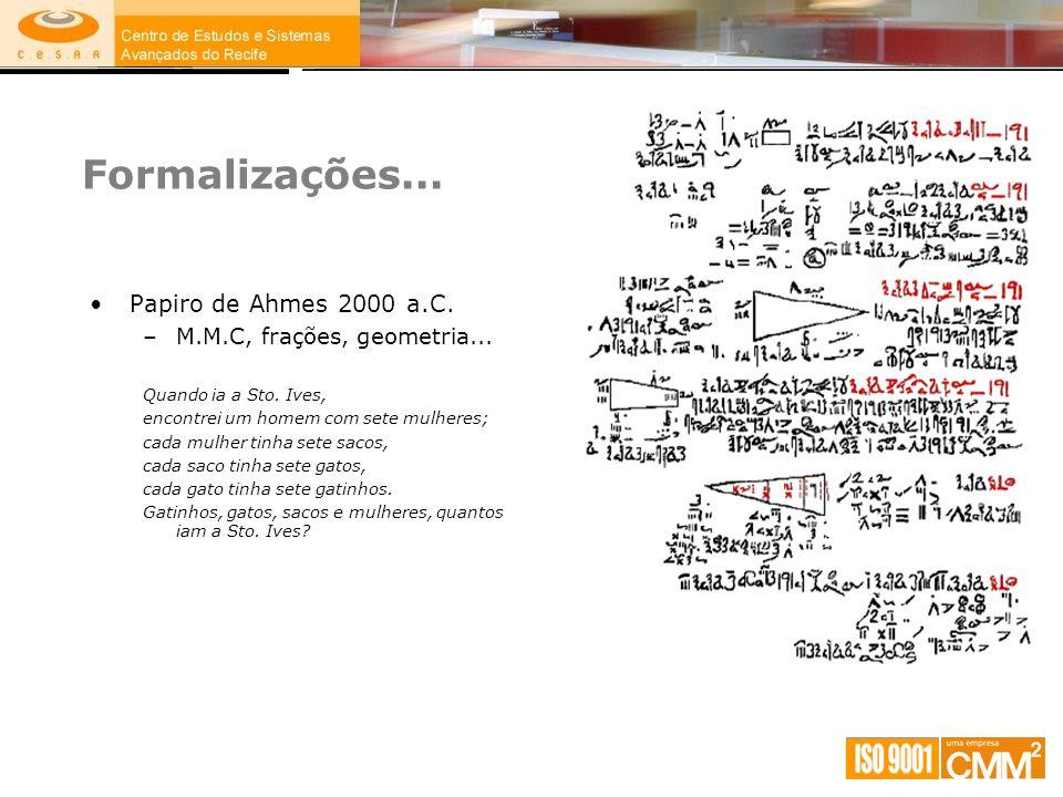 Formalizações... Papiro de Ahmes 2000 a.C. –M.M.C, frações, geometria... Quando ia a Sto. Ives, encontrei um homem com sete mulheres; cada mulher tinh