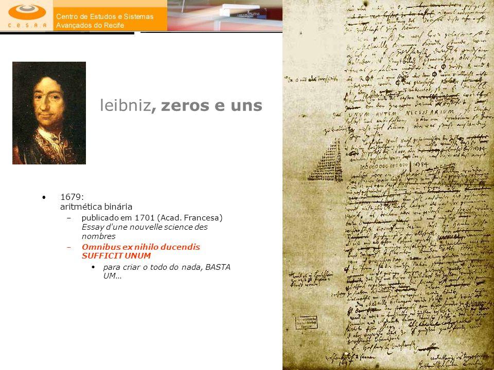 leibniz, zeros e uns 1679: aritmética binária –publicado em 1701 (Acad. Francesa) Essay d'une nouvelle science des nombres –Omnibus ex nihilo ducendis