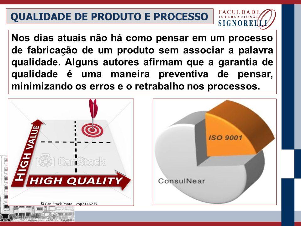 QUALIDADE DE PRODUTO E PROCESSO Nos dias atuais não há como pensar em um processo de fabricação de um produto sem associar a palavra qualidade. Alguns