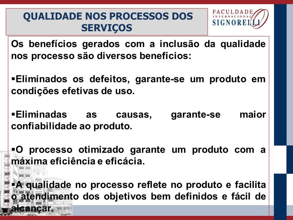 Os benefícios gerados com a inclusão da qualidade nos processo são diversos benefícios:  Eliminados os defeitos, garante-se um produto em condições e