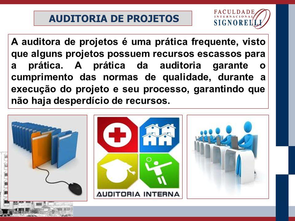 A auditora de projetos é uma prática frequente, visto que alguns projetos possuem recursos escassos para a prática. A prática da auditoria garante o c