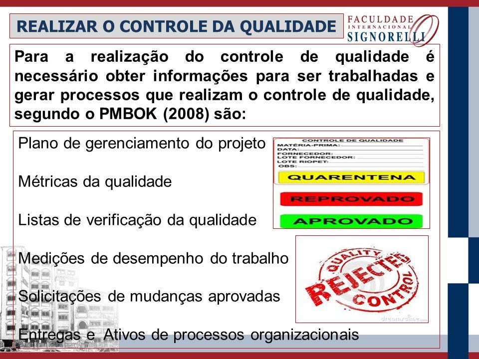 Plano de gerenciamento do projeto Métricas da qualidade Listas de verificação da qualidade Medições de desempenho do trabalho Solicitações de mudanças