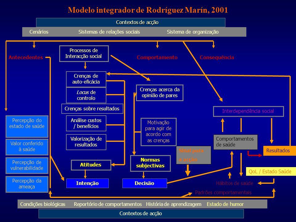 Modelo integrador de Rodríguez Marín, 2001 Contextos de acção Contextos de acção Cenários Sistemas de relações sociais Sistema de organização Processo